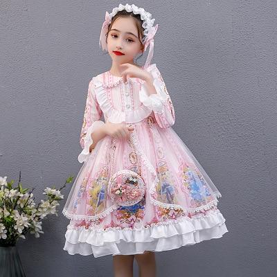 Kawaii Gilrs Lolita Dress Summer Long Sleeve candy Princess Dress Pink Lolita Dress Fairy Dress Sweet Lolita for Kids