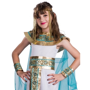 Image 3 - Disfraz de Halloween de Cleopatra azul para niños, Cosplay de Halloween con la espalda en el egipcio como la famosa reina, juego de rol histórico
