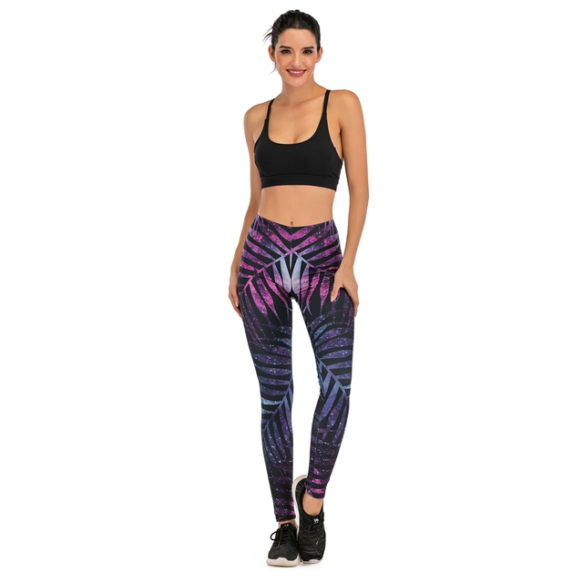 Brands Women Fashion Legging Fluorescent tree branch Printing leggins Slim High Waist Leggings Woman Pants 4