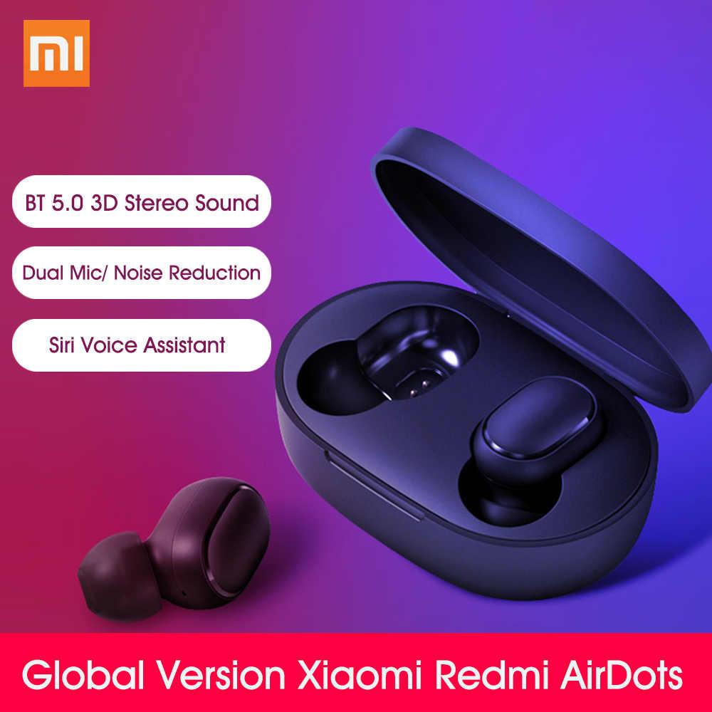 Global Version Xiaomi Redmi Airdots Tws Earphone Mi True Wireless Earbuds Basic Bluetooth 5 0 Earphone Handsfree Ai Control Bluetooth Earphones Headphones Aliexpress