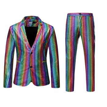 Rainbow Plaid Sequin Suits Men Dancer Stage Performance Blazer  With Pants Disco Festival Party Wedding Groom Tuxedo Costume - discount item  49% OFF Suits & Blazer