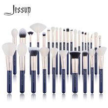 Jessupแปรงแปรงแต่งหน้าชุด6ชิ้น 30Pcs Prussian Blue/Golden Sands Foundationแปรงอายแชโดว์แป้งแปรง