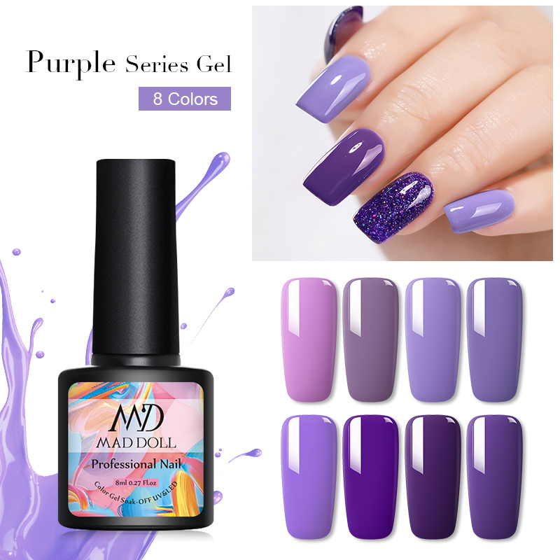 MAD DOLL 8ml Purple Series Gel Nail Polish Soak Off UV Gel Polish Varnish One-shot Pure Nail Color Manicur Nail Art Gel Lacque
