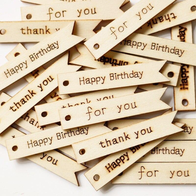 20 штук Деревянные Подарочные бирки с днем рождения деревянные Тэги винтажные деревянные бирки вечерние свадебные украшения