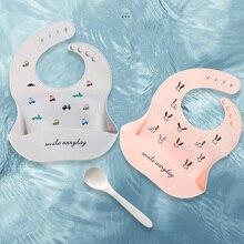 Baby Bibs Feeding-Stuff Dinosaur-Pattern Adjustable Girl Waterproof Soft-Silicone Kids
