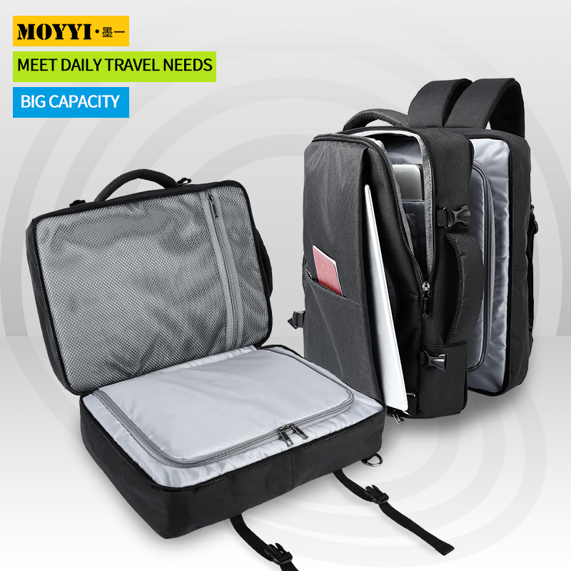 MOYYI New Black Business Travel Double Compartment Backpacks Multi-Layer With Unique Digital Bag For 15.6 Inch Laptop Mens Backp