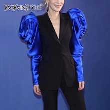 TWOTWINSTYLE 패치 워크 히트 색상 여성 노치 블레 이저 퍼프 긴 소매 높은 허리 여성 블레 이저 2020 패션 의류 새로운