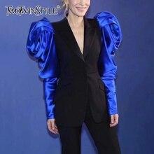 Twotwinstyle blazer feminino de cintura alta, manga longa, blazer entalhado, para mulheres, 2020