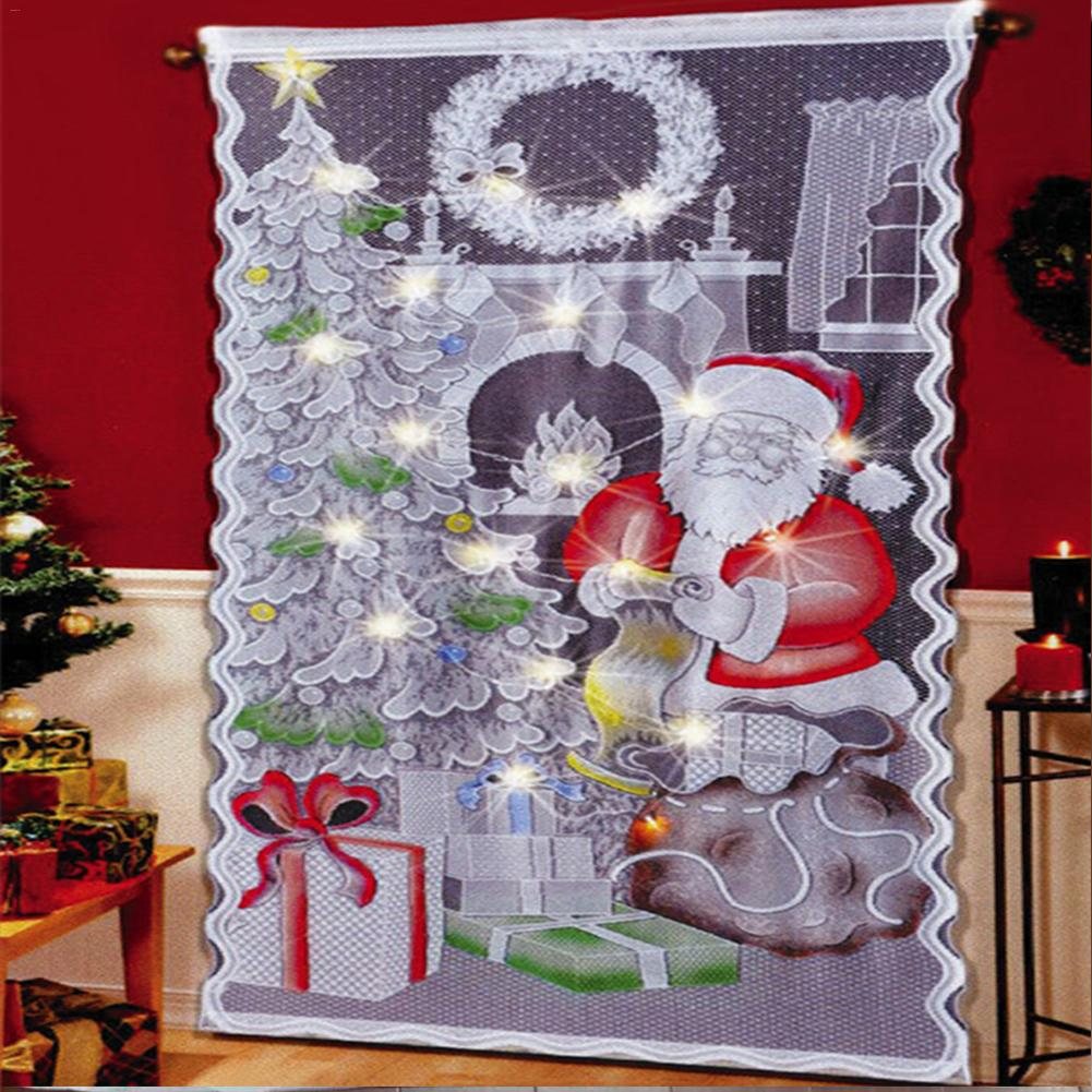Christmas Lace Curtains Santa Claus Pattern Lace Curtains Sheer Tulle Rod Curtains Living Room Bedroom Home Christmas Decoration