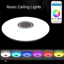 Música led luzes de teto rgb app e controle remoto lâmpada do teto quarto 25w 36 52 sala estar luz lampara de techo