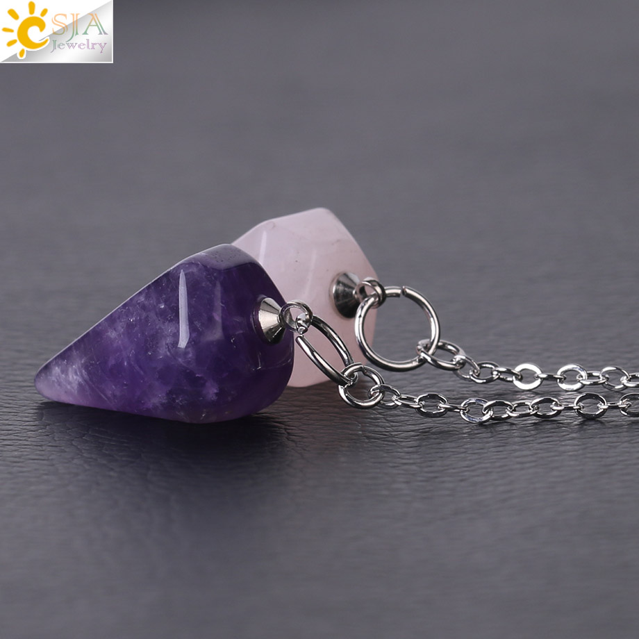 15x Natural Amethyst Pendant Crystal Stone Bullet Chakra Gemstone Necklace Gifts