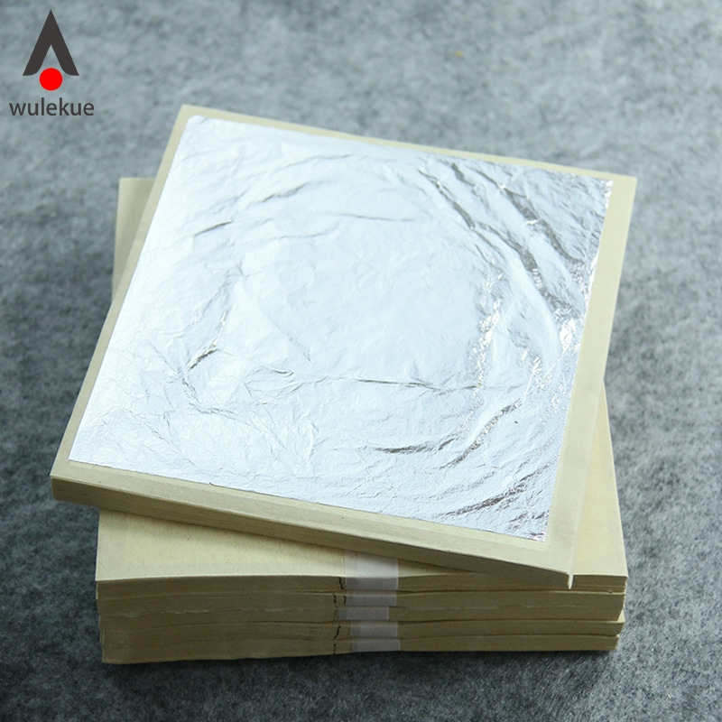 11cm Silver Leaf Sheets Silver Leaves for Food and Cake Decorating Tools Art Gilding Desserts DIY Glitter Dust Flakes in Craft Paper from Home Garden