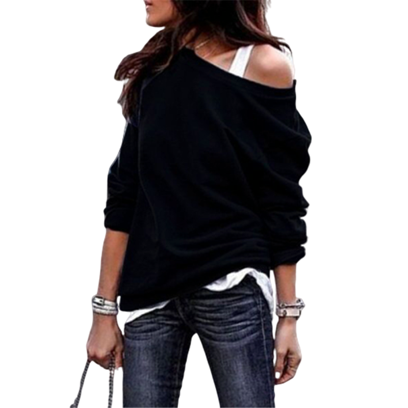 2020 New Autumn Long Sleeve Women Casual Sweatshirts Off Shoulder Black Gray Tops Sweatshirts Streetwear Female Loose Sweatshirt