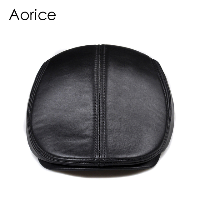 New Design Men 100% Genuine Leather Fashion Baseball Cap/Newsboy /Beret /Cabbie Hat/ Golf Hat Flat Men Slide High Quality HL041