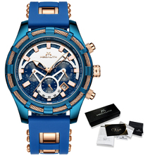 ¡Venta al por mayor! Reloj MEGALITH deportivo para hombre, correa de silicona impermeable, cronógrafo, relojes de pulsera de cuarzo, reloj Masculino con caja