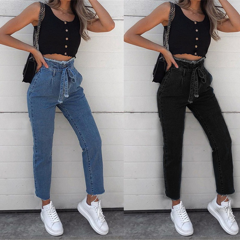 LEH Women Vintage Jeans High Waist Belt Stretch Skinny Denim Female Tassel Pencil Pant Slim Trouser Zipper Burr Full Pants