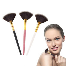 Hot 1PC Fan Shape Makeup Brush Highlighter Face Powder Brush For Face Make Up Maquiagem Cosmetic Tools Accessories hot 1pc beauty women powder brush single soft face cosmetic makeup brush big loose shape foundation make up tool maquiagem