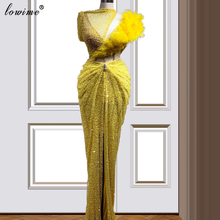 New Arrival żółte koraliki sukienka koktajlowa 2020 syrenka specjalna na wieczorny bal sukienki na przyjęcie Runaway Robe De Soiree Plus rozmiar Vestidos tanie tanio Lowime One-shoulder Poliester spandex Krótki Długość podłogi Celebrity sukienki LWCD19 Cekiny Frezowanie Pióra Cekinami