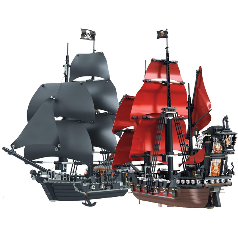 Black Pearl Ship Queen Anne's Revenge Pirates Caribbean Bricks Legoinglys Pirates Ship Boat Model Building Blocks Boys Gifts Toy