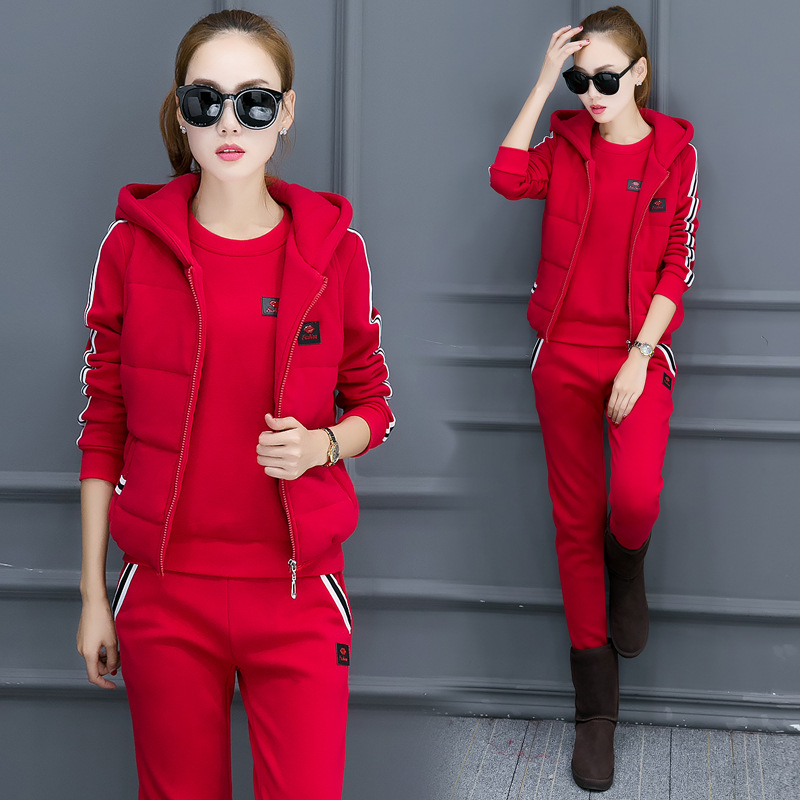 Three-piece Tracksuit Women Add Velvet Thicken Autumn/winter Hoodie Harem Pants Blazer Plus Size Windproof Tennis Apparel Warm
