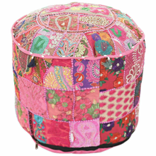 Upholstered Stool Cover Floor Decor Vintage Embroidery Patchwork Footstool Seat- show original title