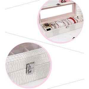 Image 5 - Watch Box Large 6 Men Women Crocodile Grain Leather Display Glass Top Jewelry Case White