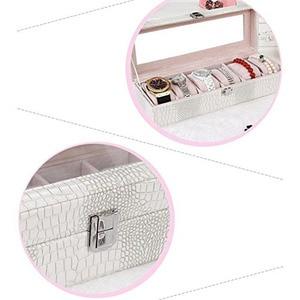 Image 5 - Zegarek Box duży 6 mężczyzna kobiet łuska krokodyla skóra wyświetlacz szkło najlepsza biżuteria Case biały