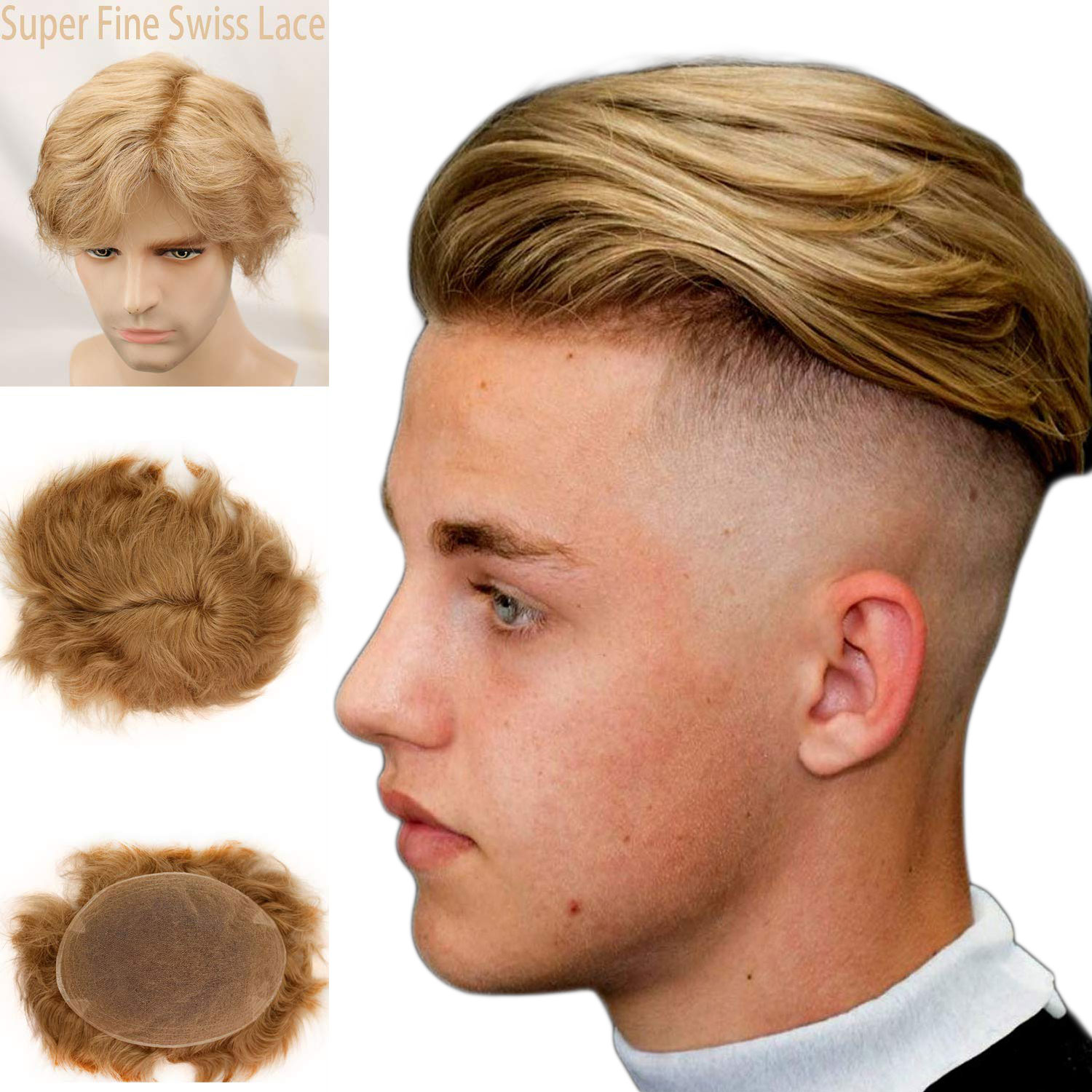 Swiss Full Lace Men's Toupee European Real Human Hair Replacement For Men Hairpiece #21 Ash Blonde Color 10X8