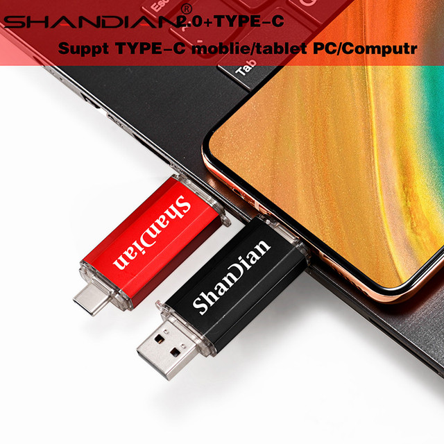 SHANDIAN Real capacity Flash Drive 64G 8G TYPE-C micro-usb 3 IN 1 pen Drive 32G 16G usb Smart Phone thumb pendrive memory 4
