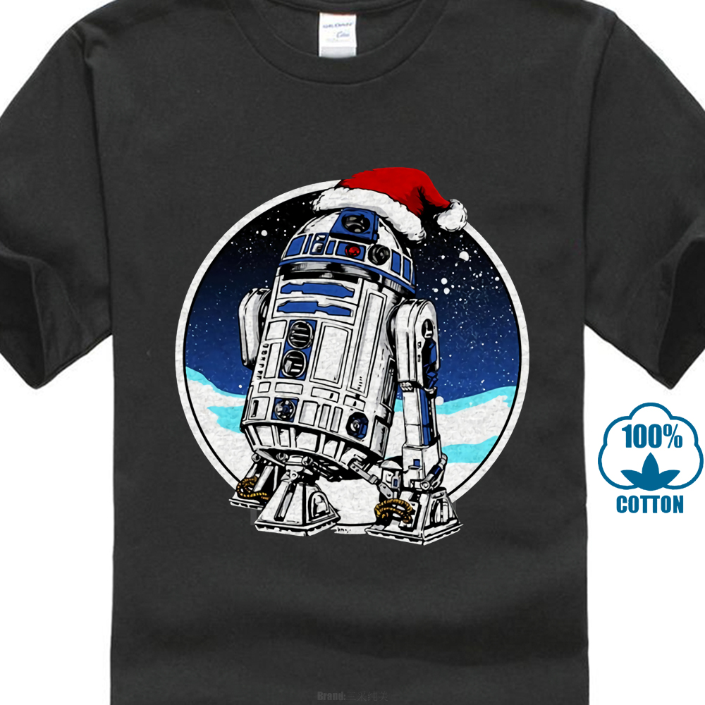 <font><b>Christmas</b></font> Men <font><b>Star</b></font> <font><b>Wars</b></font> Tops Santa R2D2 T-Shirt Novelty Cartoon Clothing Black <font><b>Tshirt</b></font> Xmas Gift Tees Cotton Cloth 023099 image
