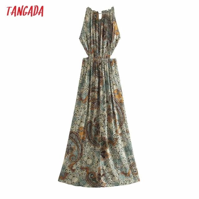 Tangada Women Sexy Flower Print Halter Dress Sleeveless Backless 2021 Summer Fashion Lady Dresses 3H790 6