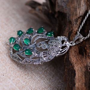 Image 2 - Gerçek saf 925 ayar gümüş tavuskuşu doğal taş kolye kadınlar için kakma yeşil kalsedon markazit