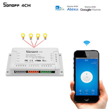 Itead sonoff 4CH R2 wifiスマートスイッチ、 4 チャンネル無線lanスマートホームタイマー光のappリモート遮断リレーgoogleホームで動作