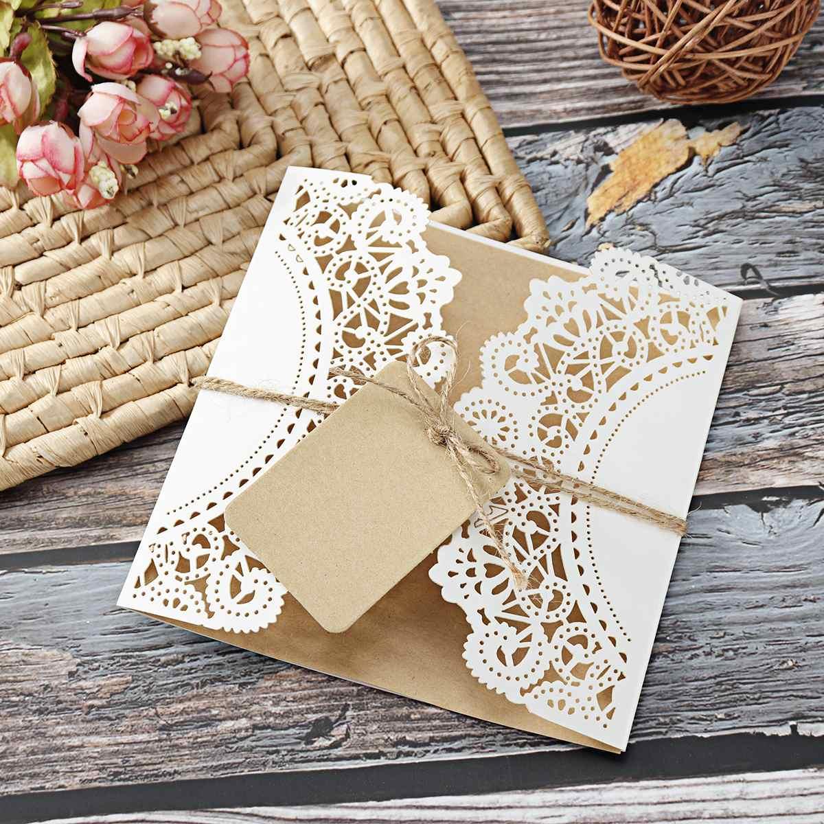 30/50 ชิ้น/เซ็ตเลเซอร์ตัดการ์ดเชิญงานแต่งงาน + หมวดหมู่ VINTAGE งานแต่งงานเจ้าสาวบัตรของขวัญชุดกิจ...