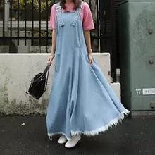 Женское длинное джинсовое платье светильник голубое макси без