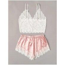 2pcs Womens Lace Pajama Set Sleeveless Crop Tops Elastic Bowknot Shorts Ladies Two Piece Set Solid Color Sleepwear Summer Pajama