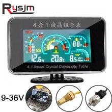4 In 1 LCD 12v/24v 굴삭기 트럭 자동차 오일 압력 전압계 볼트 수온 연료 게이지 온도 센서 전압계 자동차