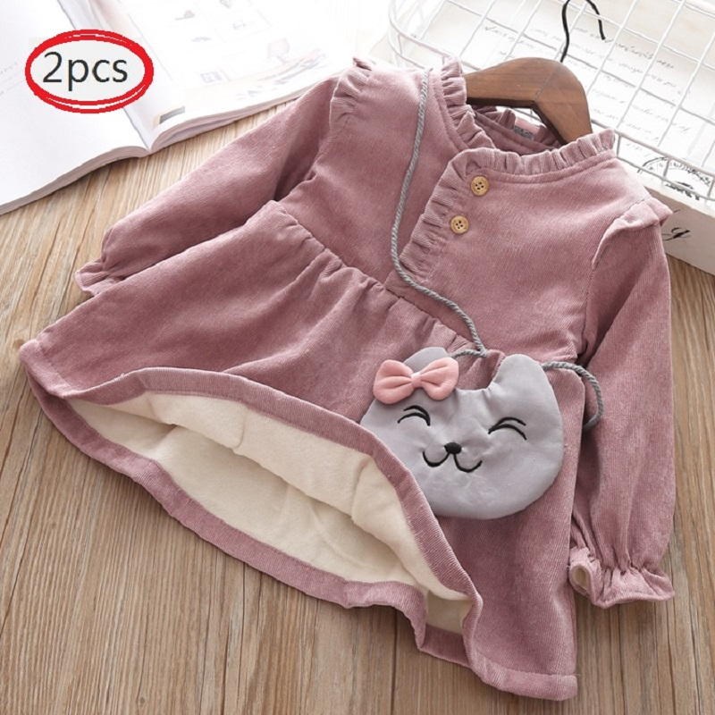 Baby Clothing 2019 Fall Winter Wear Thick Warm Baby Girls Princess Dress Velvet Long-sleeve Dress Party Dresses Baby Clothes