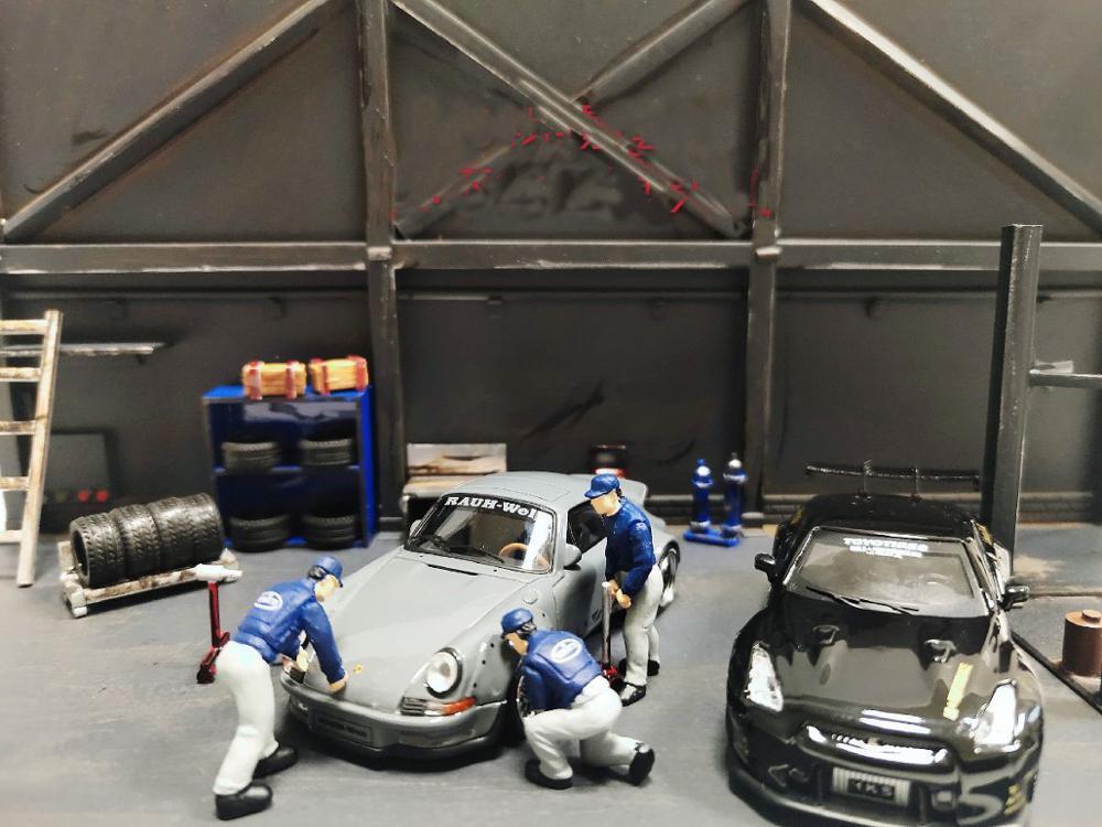 1/64 Repair Shop Scene Workshop Tire Refit Garage Model Car Scene Decor Props