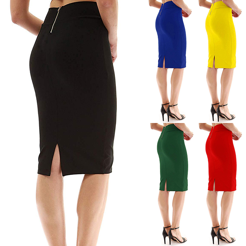 Gold Zip High Waist Elastic Pencil Midi Skirt Female Bodycon Skirts Womens Summer 2019 Knee Length Split Ladies Office Red Green
