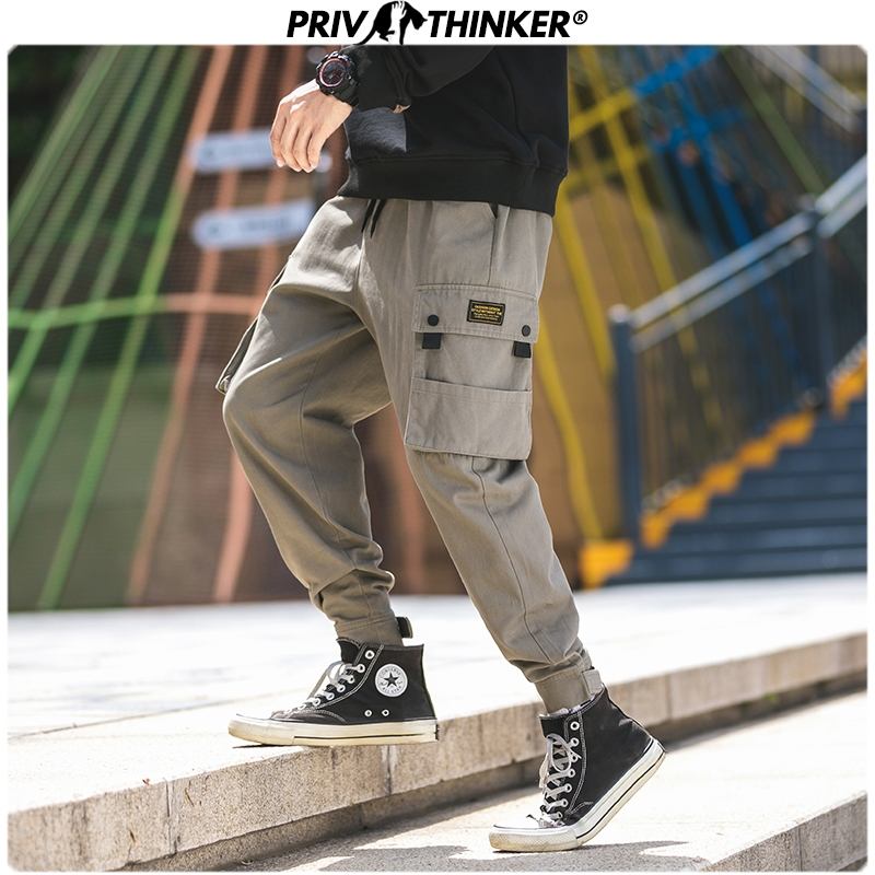 Privathinker Autumn Men Casual Streetwear Cargo Pants Mens Pockets Hip Hop Korean Joggers Male Fashion Loose Harem Pants 2019