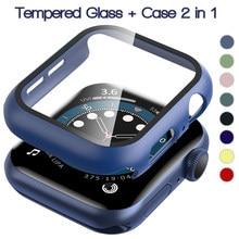 Protecteur d'écran pare-chocs cadre étui pour Apple Watch 6/SE/5/4/3/2/1 couverture Film de verre trempé pour Iwatch Series 6 5 4