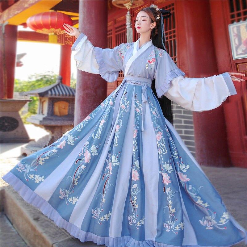 Kadın Hanfu çin geleneksel halk kostüm kız Han hanedanı dans giyim bayan nakış peri oryantal antik prenses takım elbise