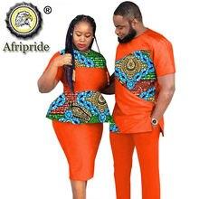 Afripride s20c010 africano casais roupas vestuário masculino e feminino usar festa de casamento ancara cera impressão moda