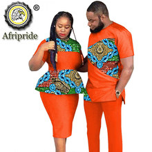 African Couples Clothing Outfits Men and Women Wear Wedding Party Ankara Wax Print Fashion AFRIPRIDE S20C010
