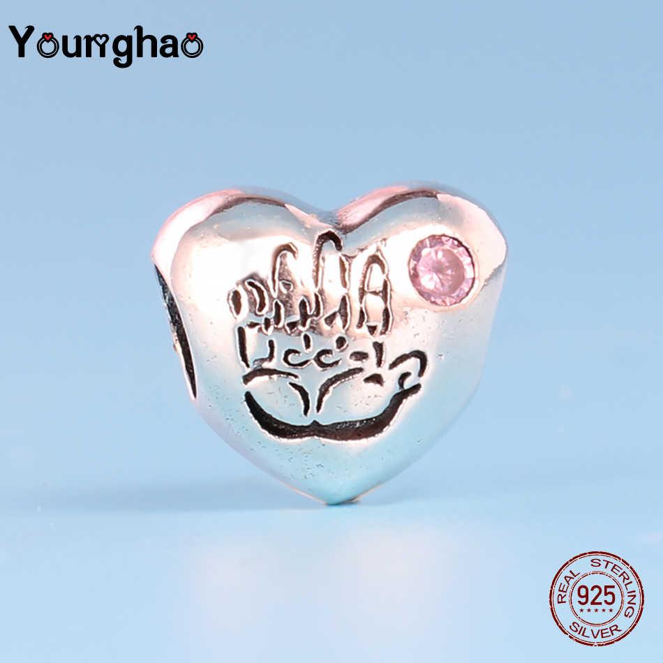 Younghao Pure หัวใจเงิน 925 Kralen It's Girl ลูกปัดปาล์มลูกปัด Fit Pandora Charm สร้อยข้อมือของขวัญเด็กหญิง