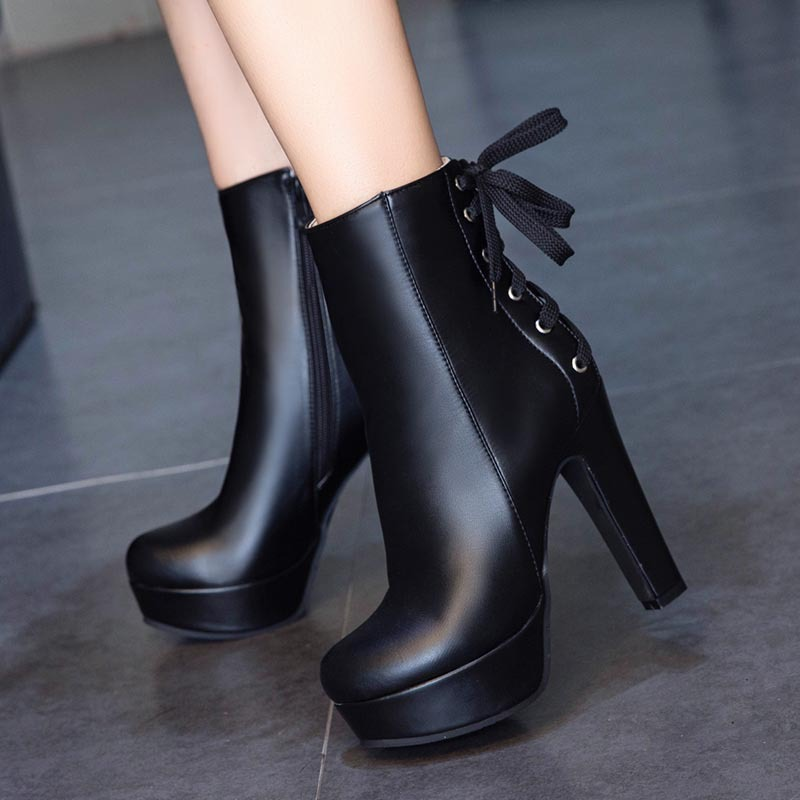 Autumn Winter High Quality PU Ankle Boots Concise Solid Back Cross-Tied Platform Women Shoes Classics Side Zipper High Heels Hot