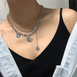 Creative Harajuku Choker Cool Smile Pendant Stainless Steel Necklace Party Punk Jewelry for Women Friendship Girl Trendy Gift