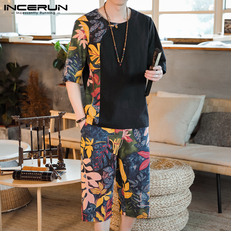 INCERUN Vintage Men Sets Printed Short Sleeve T Shirt Elastic Waist Casual Pants 2 Pieces Streetwear Ethnic Style Men Sets S-3XL