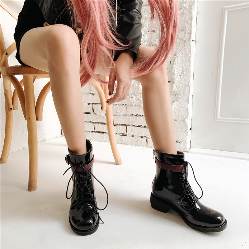 YMECHIC Chunky Heels Ankle Combat Boots for Women Lace Up Cross Tied Buckle Strap Gothic Punk Woman Boots Autumn Winter Shoes
